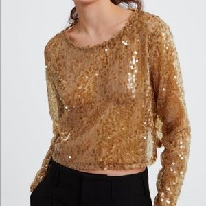 Zara Gold Sequin Cropped Sweater